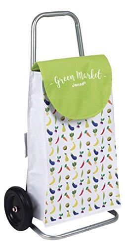 Janod Holzspielzeug - Früchte- Trolley Einkaufswagen auf Rollen Green Market mit Portemonnaie 29 x 18 x 55 cm - 10,5 x 10 cm, Mehrfarbig