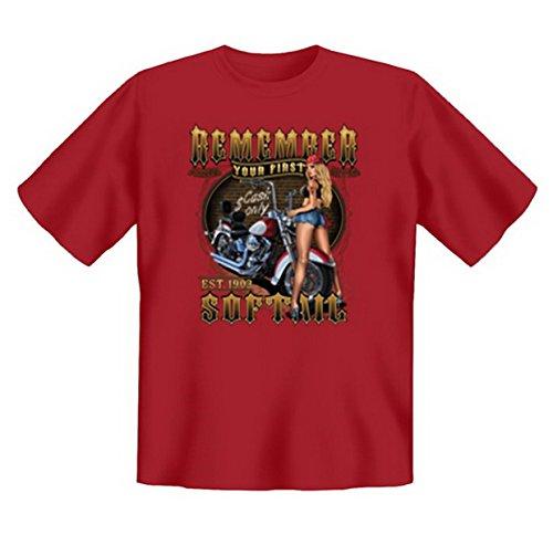 Biker & Motorrad T-Shirt geil bedruckt / Remember your first Softail ! Dunkelrot