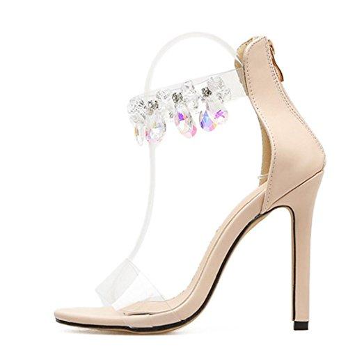 S&H-NEEDRA Mode Leopard Open Toed High Heels Frauen Transparent Heel Sandalen Hausschuhe