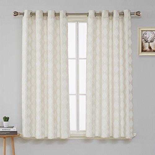 Deconovo tende voile trasparenti ricamate di foglie per camera da letto 2 pannelli 140x180cm beige chiaro