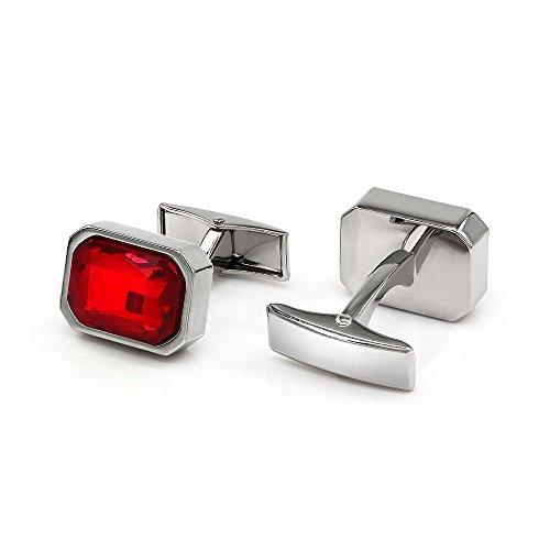 Kemstone Versilberte Manschettenknöpfe für Herren, mit roten Kristallen (Cubic Zirkonia)
