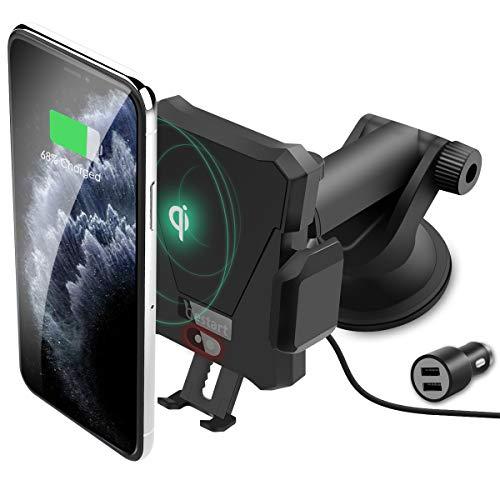 Handyhalter fürs Auto Wireless Charger (mit QC 3,0), ZealSound Kfz-Ladegerät mit Automatische Infrarot-Sensor-Design Smartphone Halterung für iPhone XS/X/XR/8/Galaxy S10/S10+/S9/S8, Andere Qi Geräte