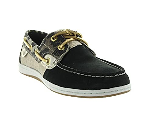 Sperry Top-Sider Women's Koifish Animal Boat Shoe,Black Leopard,US 7 M