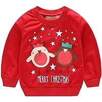 cheyuan Unisex Langarm Weihnachten Pullover Baby Rundhalsausschnitt Pullover Lustige Hirsch Muster Brief Tops Schnee-Männer Pyjamas
