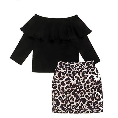 Baby Mädchen Kinder Rüschen Schulterfrei Tops Leopardenmuster Engen Rock Outfits