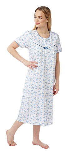 Ladies Short Sleeved 100% Cotton Jersey Butterfly Print Nightdress. Pink or Aqua. Sizes 8-10 12-14 16-18 20-22 24-26 - 41MFKFbRbGL - Ladies Short Sleeved 100% Cotton Jersey Butterfly Print Nightdress. Pink or Aqua. Sizes 8-10 12-14 16-18 20-22 24-26