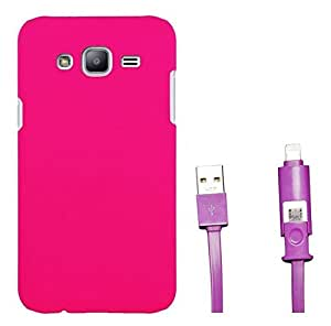 Chevron Rubberized Matte Hard Back Cover Case for Samsung Galaxy On5 with 2 In 1 Data Cable (Micro USB & Lighting) (Deep Pink)