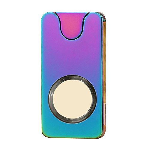 Alxcio Elektronisch Feuerzeug USB Wiederaufladbare Metall Windproof Flammenlose Kein Gas Rauchen Zigarettenanzünder Zündung mit USB-Ladekabel, Stil 7 (Elektro-kamin Blue)