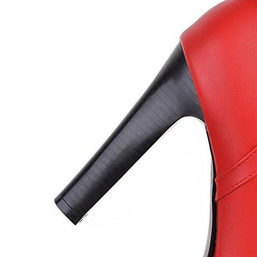 AgooLar Damen Rund Zehe Niedrig-Spitze Hoher Absatz Rein Stiefel mit Metallisch Rot
