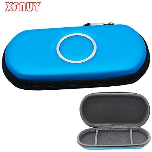 XFUNY(TM) Dustproof Quakeproof Hard Cover Protective Shell Carrying Case Travel Pouch Bag for Sony PSP 3000 Game Console&card-Blue