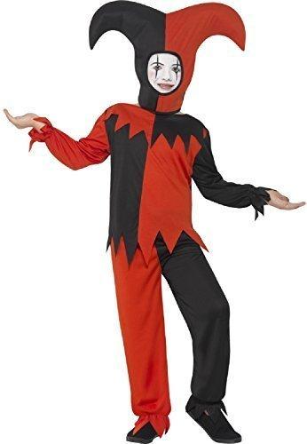 Fancy Me Jungen Mädchen gedreht rot & schwarz Hofnarr Karneval böse gruselig unheimlich Zirkus Horror mittelalterlich Halloween Kostüm 4-12 Jahre - 4-6 Years