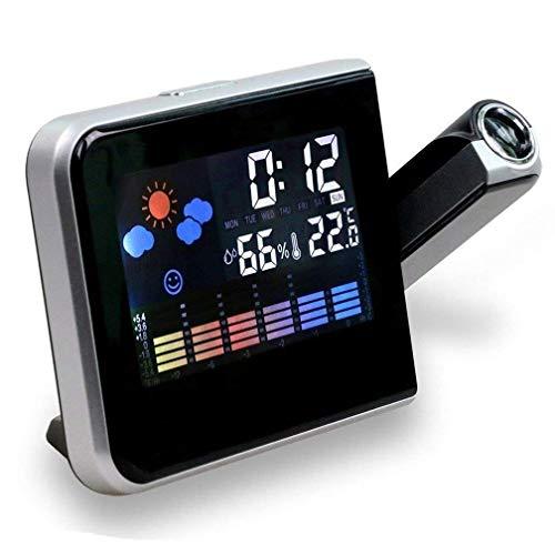 Relojes de Alarma de Proyección Digital, Reloj de Alarma de Proyección LCD de Luz de Fondo con Temperatura Interior, Puerto de Carga USB, Snooze, Calendario