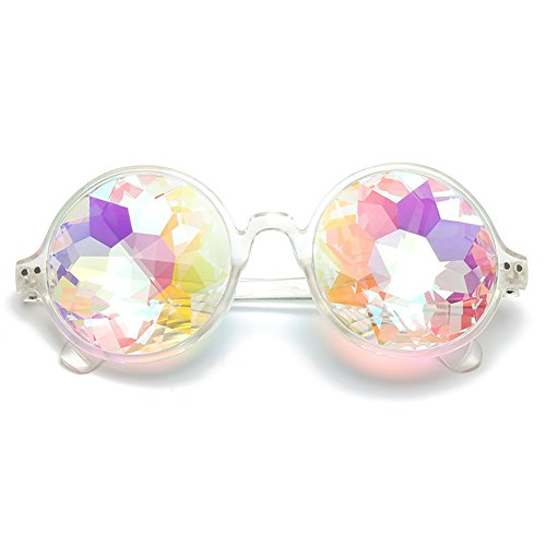IMBM Kaleidoskop Sonnenbrille Runde Kristall Linse Tanz Rave Festival Party Brille,Clear,A