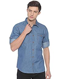 Raa Jeans Men's Denim Blue Solid Full-Sleeves Shirt
