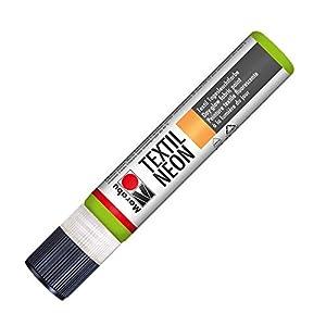 Marabu 18080009365 Neon Liner - Pintura Textil (Base de Agua, Resistente a la Saliva, Tacto Suave, 25 ml), Color Verde Fluorescente