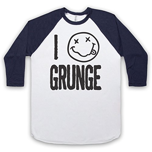 I Love Grunge Slogan Style 3/4 Hulse Retro Baseball T-Shirt Weis & Ultramarinblau