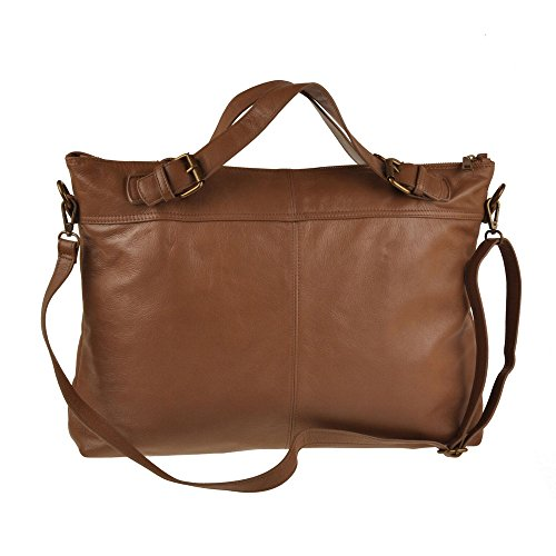 Pellevera Ruth grand sac à bandoulière en cuir italien (Brun pâle) marron