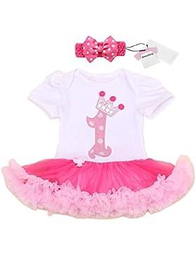 Vestito infantile della neonata 1 compleanno vestito festa con archetto