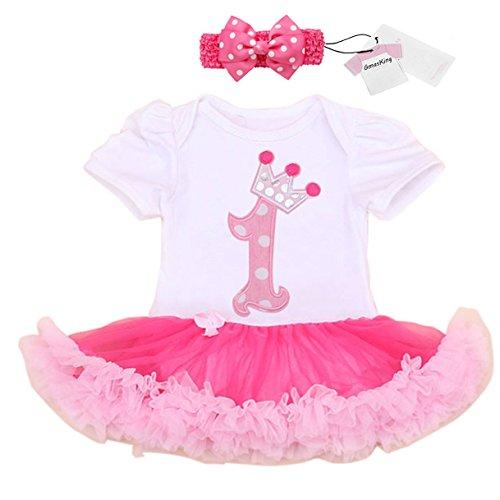 Säuglingsklage Baby erstes Geburtstags-Party Kleid mit Schleife XL 12-18 (Kostüm Puppe Taste)