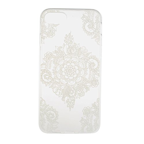 "iPhone 8 Schutzhülle, ultra dünn TPU weich flexibel Colorful Vinylfolie Muster Design Jelly Schutz Gel Case Cover Skin für Apple iPhone 8 (11,9 cm), Black Frowny Face, Apple iPhone 8 (4.7"") White Henna Flower Diagonal Croners"