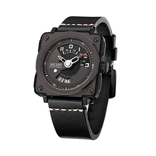 YSCYLY Männer Sport Quarzuhr Lederband Mode Quadrat Uhr Männer Militäruhren Wasserdichte 30 Mt Business Casual Armbanduhren für Mann,A