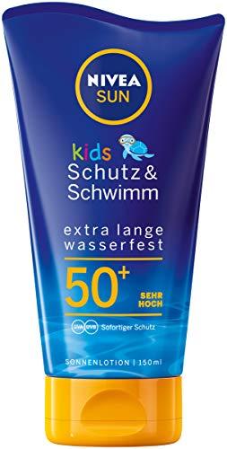 Nivea Sun Kids Schutz & Schwimm Wasserfeste Sonnenlotion, Lichtschutzfaktor 50+, 1er Pack (1 x 150 ml)