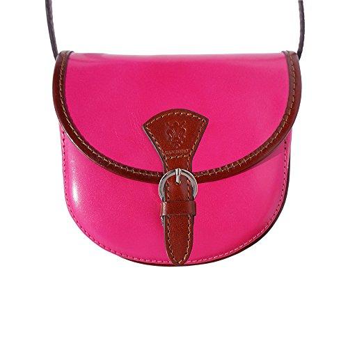 "Lady Leder-Umhängetasche ""Sattel"" 224 Pink-Braun"