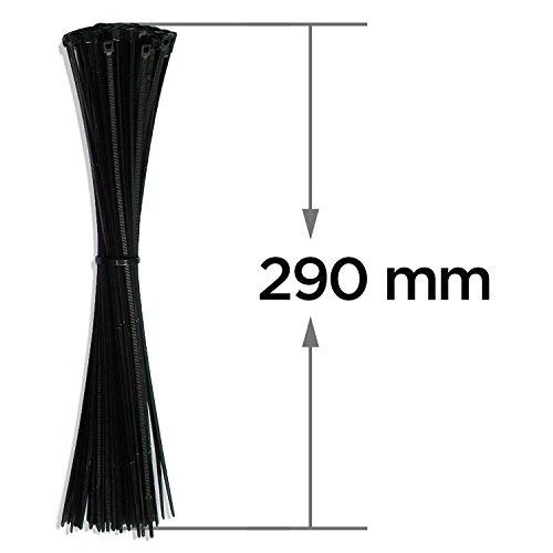 Preisvergleich Produktbild Profi Kabelbinder Set 100 Stk., Schwarz, 290 mm, Halogenfrei, Polyamid 6.6, CE