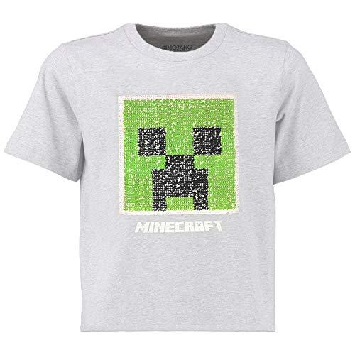 Minecraft Zweiwegepaillette Jungen T-Shirt | Graues Oberteil mit umgekehrter Pailletten-Pixel-Stil-Strampler-Motiv | Kinder & Jugendliche Kleidung | Offizielle Waren (15/16 Jahre)