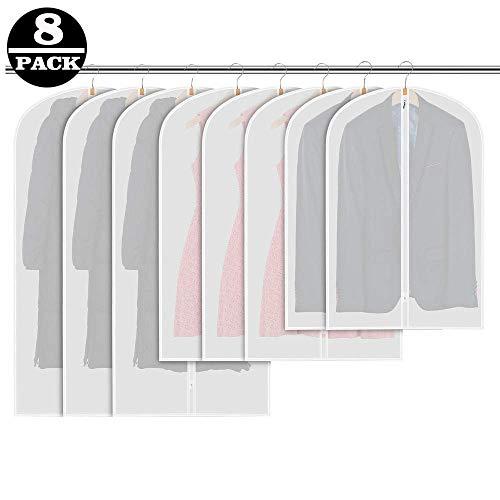 AOMEES Kleidersack [8 Stück], 120 x 60 cm + 100 x 60 cm Kleidersäcke, Hochwertiger Anzugsack/Kleiderhülle aus atmungsaktivem Material - Erstklassiger Schutz Aufbewahrung für Anzüge und Kleider