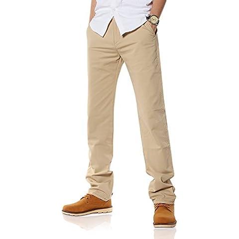 Demon&Hunter Hombre Corte Recto Caqui claro Chino Pantalones DH9L03