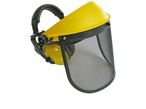 YERD Schutz-Visier / Gesichts-Arbeitsschutz klappbar mit Metallnetz (kein beschlagen), EN Norm (Mit Gehörschutz)