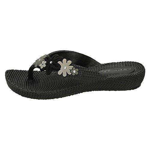 Spot en caoutchouc pour pieds de poteau No-Sandales-boîtes Argent - noir