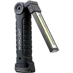 PA® Linterna de Trabajo Recargable LED, lámpara de Inspección COB Portátil con Gancho, Base Imán, Cable USB para Casa Auto Camping Emergencia Reparacion