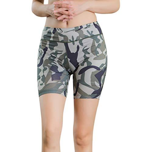 TianWlio Leggings Damen Frauen Running Women's Camouflage Luminous Reflective Strip Yoga Sports Shorts Yoga Pant Armeegrün S