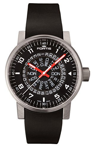 Fortis Spacematic Black-Red Automatic Day/Date Steel Mens Strap Watch 623.10.51 SI.01