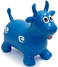 Tickles Blue Jumping Bull (Inflatable Space Hopper, Jumping Bull, Ride-on Bouncy Animal) Stuffed Soft Plush Toy Love Girl 57 cm