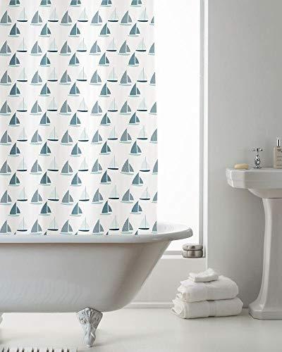 Luxus Modern Yachten Boote Badezimmer Dusche Drapiert Vorhang Grün Weiß 180 X 180XCM mit Haken (Dusche Vorhang Haken Weiß)