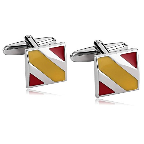 KnSam Acciaio Inox Gemelli Per Uomo Quadrato Barra Lineas 2 Colori Epossidica Rosso Giallo Cufflinks