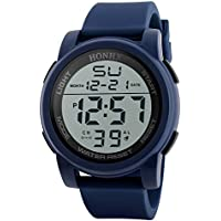 STRIR Reloj Deportivo de Pulsera Resistente al Agua Digital LED Alarma Calendario Reloj para Hombre Mujer (Azul)