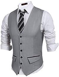JINIDU - Chaleco para hombre, casual, ajustado, formal, con bolsillo para bodas, negocios, fiestas