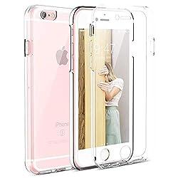 Mkej 360°Soft-Edition Transparent Schutzhülle kompatibel mit iPhone 6/ 6s, 360 Grad Rundum Doppel-Schutz Cover [Vorne + Hinten geschützt] Silikon Crystal Hülle für iPhone 6/ 6s