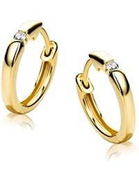 52185e8c7fd2 Orovi Pendientes Señora aros en Oro Amarillo con Diamantes Talla Brillante  0.06 ct Oro 9 Kt…