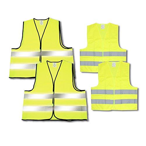 """elasto Warnwesten 4er-Set """"Family"""" im Etui Nach EN ISO 20471 Zertifiziert Warnweste Kinder Gelb Einheitsgröße XXL & M mit Reflektorstreifen"""