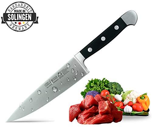 GÜDE ALPHA. Serie Kochmesser mittel 21cm Klingenlänge, stabiler Hostaform Griff, Handarbeit made in Solingen Küchenmesser Chefmesser