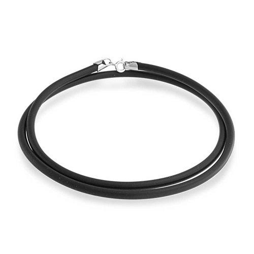 Bling Jewelry Nero collana del cavo in gomma con 925 Sterling Silver (Cavo Gomma Collana)