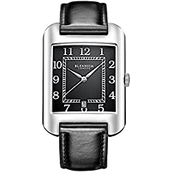 Blenheim London® B3180 Curve Watch Black Arabic Numeral with Silver Hands with Black Leather Strap