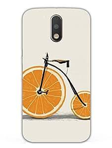 Moto G4 Plus Back Cover - Orange Wedges Wheels - Fruity Bicycle - Designer Printed Hard Shell Case