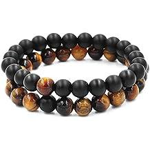 544d2b0eba8 Belons - Ensemble de 2 bracelets extensibles avec perles en œil-de-tigre et