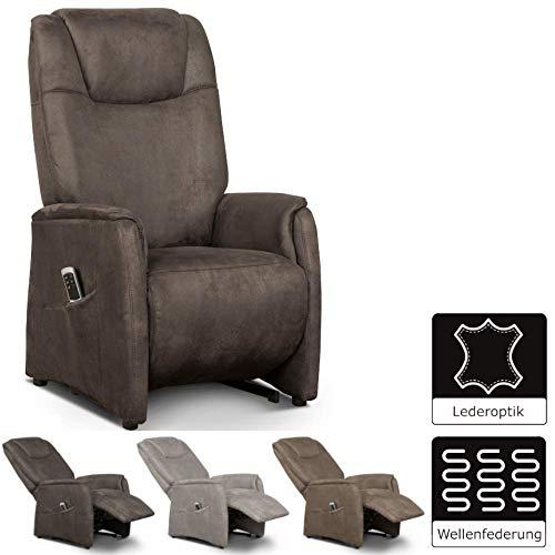 Cavadore Fernsehsessel Mamby / TV-Sessel mit manuell verstellbarer Rückenlehne und Fußstütze / Ergonomie L / Belastbar bis 130 kg / 69 x 119 x 83 / Wildlederoptik Dunkelbraun -